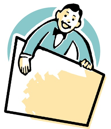 A cartoon style drawing of a vendor holding a blank sign Stock Photo - 14910700