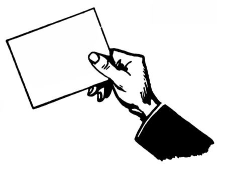 A black and white version of a drawing of a hand holding a blank card