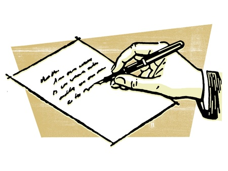 hand writing: A drawing of a hand writing a letter