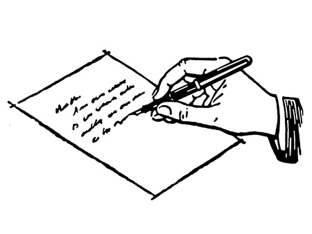 hand writing: A black and white version of a drawing of a hand writing a letter