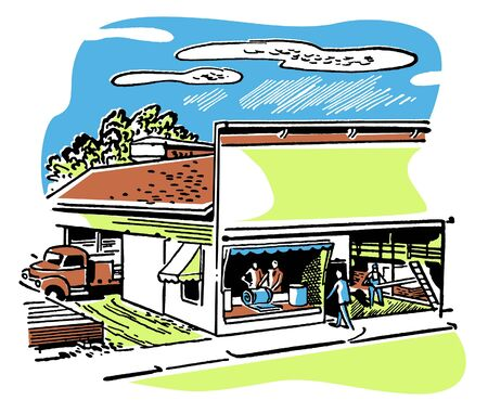 pickups: An illustration of a shop front