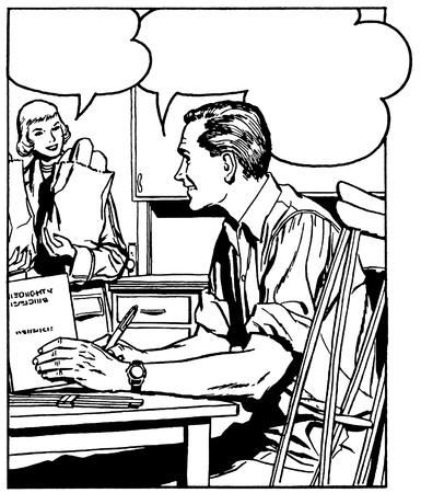 Een zwart een witte versie van een comic stijl illustratie van een man aan een bureau te praten met een vrouw op de achtergrond