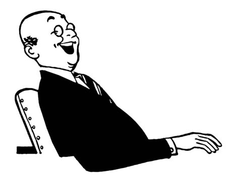 A black an white version of a jolly looking businessman sitting at a desk Stock Photo