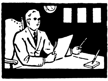 A black and white version of an illustration of a man working at his desk Stock Illustration - 14911130