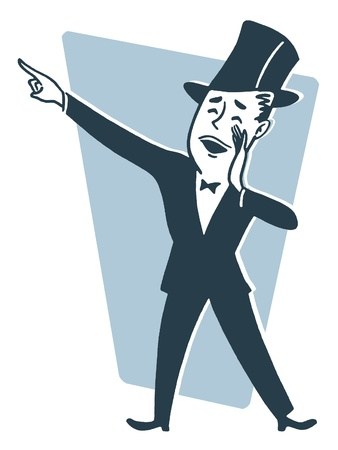 closed mouth: A cartoon style drawing of a man dressed in a top hat and tails making an announcement Stock Photo