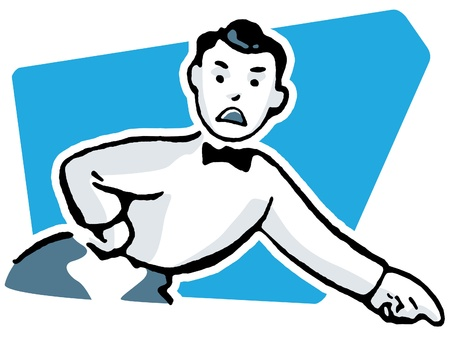 A cartoon style drawing of an unhappy looking man dressed in a suite with bowtie pointing his finger