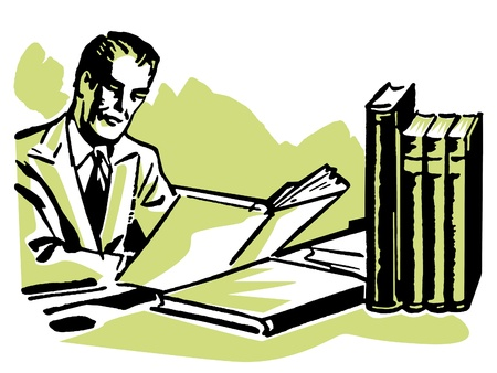 homeoffice: A graphic illustration of a business man working hard at his desk Stock Photo