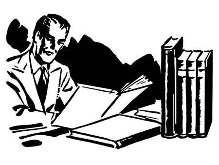 A black and white version of a graphic illustration of a business man working hard at his desk Stock Illustration - 14912402