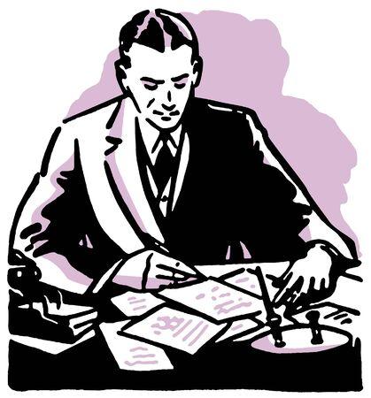 Een grafische illustratie van een man bedrijf werkt hard aan zijn bureau