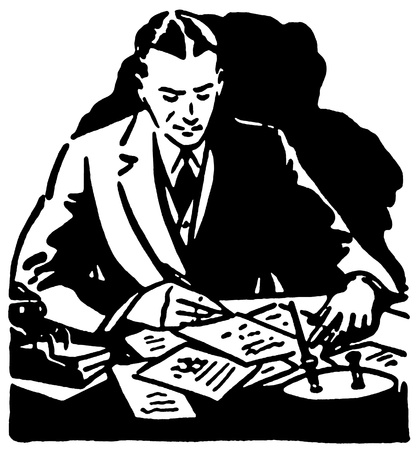 A black and white version of a graphic illustration of a business man working hard at his desk Stock Illustration - 14913003