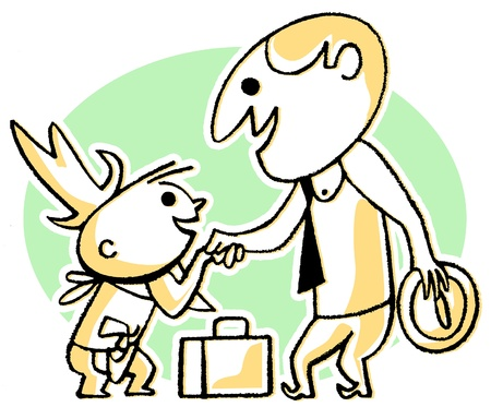 A cartoon style drawing of a business man greeting a small child photo