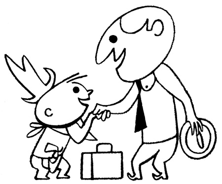 A black and white version of a cartoon style drawing of a business man greeting a small child photo