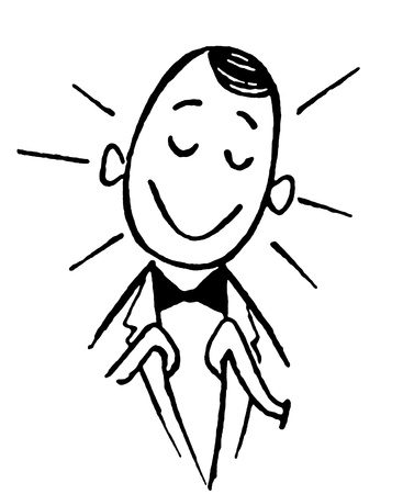 A black and white version of a cartoon style drawing of a happy looking clerk