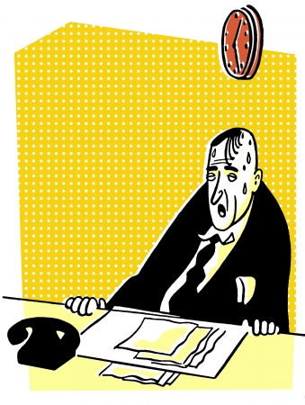 tired businessman: An illustration of a tired and worn looking businessman