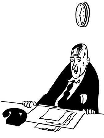 A black and white version of an illustration of a tired and worn looking businessman illustration