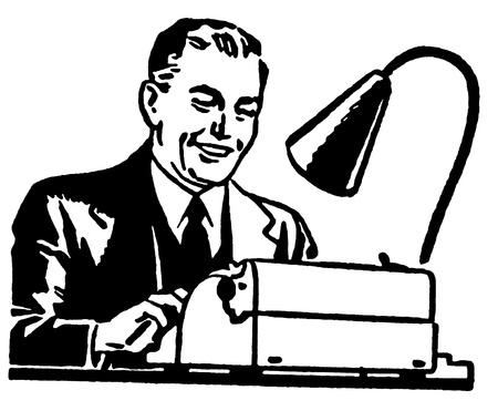 A black and white version of graphic illustration of a business man working hard at a typewriter illustration