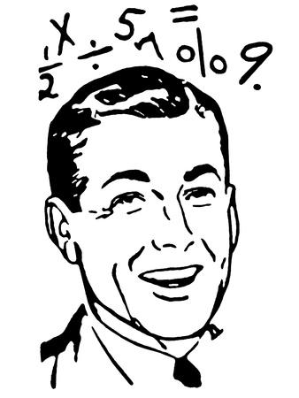 sumas: Una versi�n en blanco y negro de un retrato de un hombre con ecuaciones matem�ticas que lo rodean