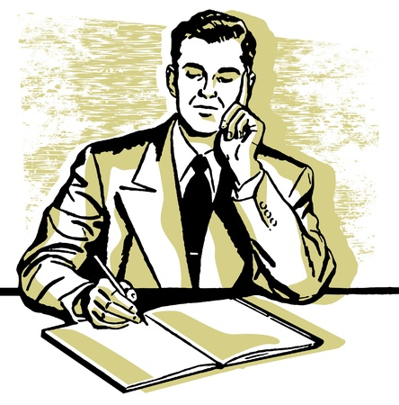 A graphic illustration of a business man working hard at his desk Stock Photo