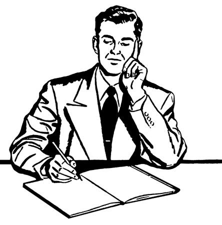 Een zwart-wit versie van een grafische illustratie van een man bedrijf werkt hard aan zijn bureau Stockfoto
