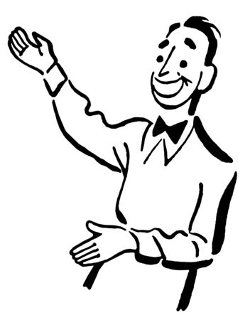 A black and white version of a cartoon style drawing of a host directing guests Stock Photo