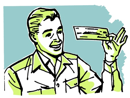 cheques: A graphic illustration of a business man examining a check Stock Photo