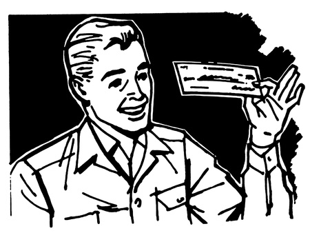 cheques: A black and white version of a graphic illustration of a business man examining a check