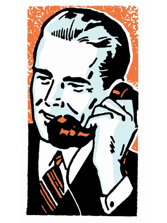 good looking man: A graphic illustration of a businessman talking on the telephone