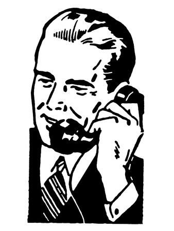 telephones: A black and white version of a graphic illustration of a businessman talking on the telephone