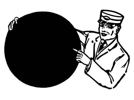 A black and white version of an illustration of a train conductor holding a round sign Stock Illustration - 14909899