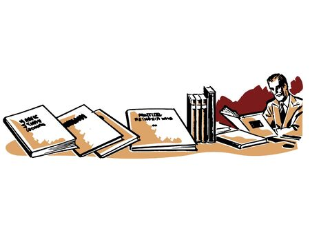 Een man die bijna verloren in een bureau van boeken