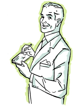 A graphic illustration of a man signing a check illustration