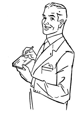 A black and white version of a graphic illustration of a man signing a check illustration