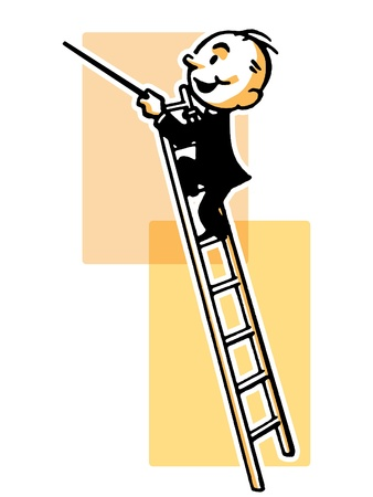 A cartoon style drawing of a conductor high up a ladder Stock Photo