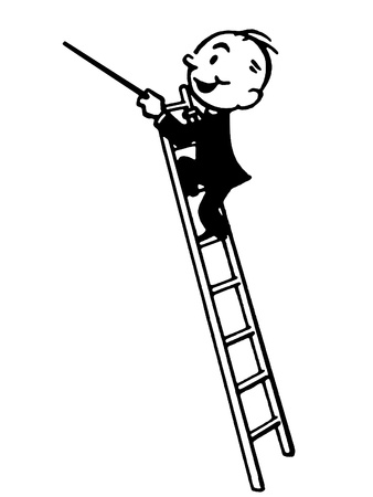 A black and white version of a cartoon style drawing of a conductor high up a ladder Stock Photo