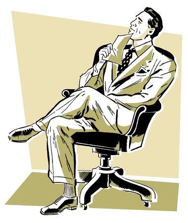 legs crossed: A graphic illustration of a businessman looking perplexed in his office chair