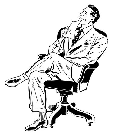 A black and white version of a graphic illustration of a businessman looking perplexed in his office chair