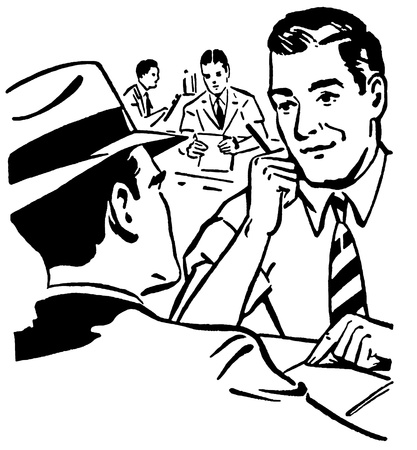 A black and white version of a graphic illustration of two men doing a business deal