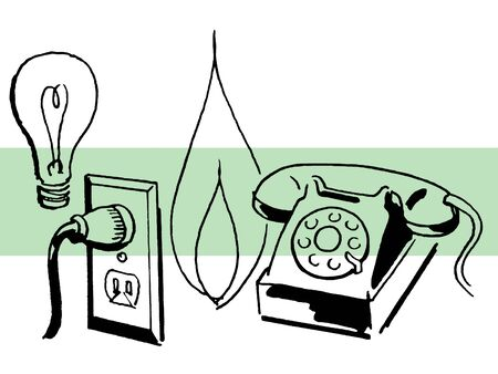 A grouping of line drawings of a light bulb; electricity socket; flame and telephone photo