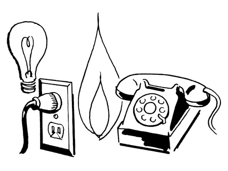A black and white version of a grouping of line drawings of a light bulb; electricity socket; flame and telephone photo