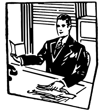 A black and white version of a businessman sitting at his desk Stock Photo - 14913983