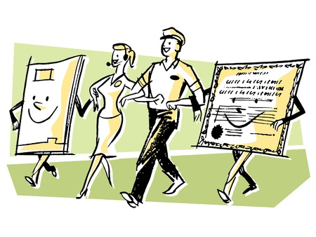linked services: A delivery man and woman walking hand in hand with character made from paper Stock Photo