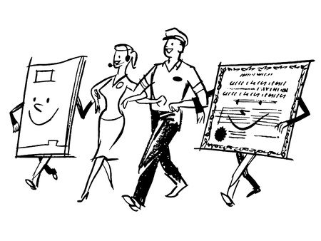 centers: A black and white version of a delivery man and woman walking hand in hand with character made from paper Stock Photo