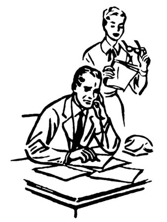 A black and white version of a businessman working at his desk with his secretary standing over him Stock Photo - 14913006
