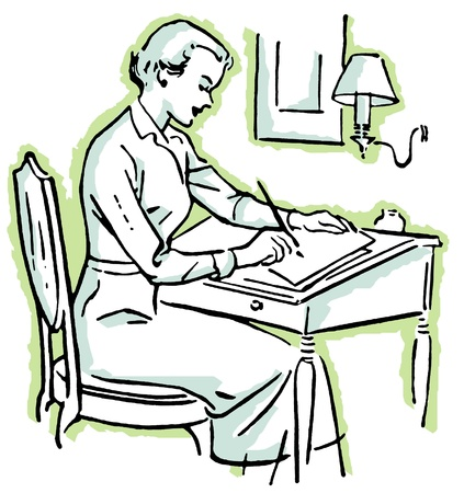A line drawing of a woman at a writing desk Stock Photo