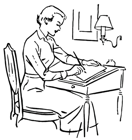 A black and white version of a line drawing of a woman at a writing desk Stock Photo