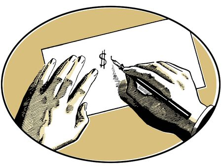 cheques: An illustration of two hands on a desk writing a dollar symbol
