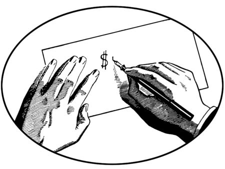 A black and white version of an illustration of two hands on a desk writing a dollar symbol illustration