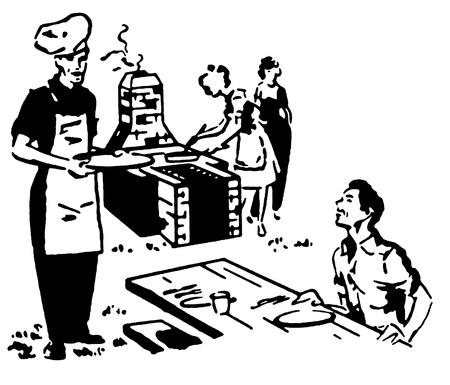 socializando: Una versi�n en blanco y negro de una familia disfrutando de un picnic barbacoa