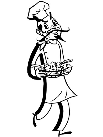 A black and white version of a robust chef showcasing a fresh pie