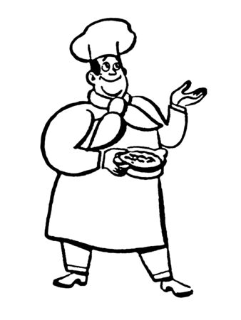 An abstract illustration of a chef adding wine to his creation illustration